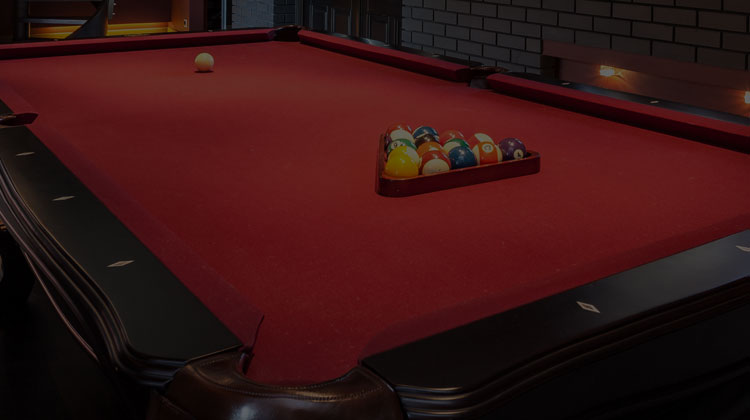 Pool Table with the Balls Racked